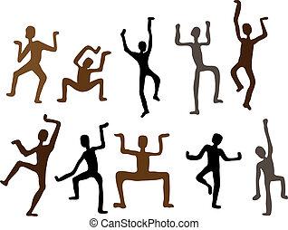 dança, abstratos, ilustração, men., vetorial, étnico