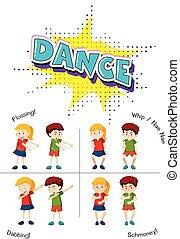 dança, adolescente, jogo