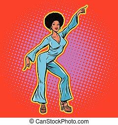 dança, africano, retro, discoteca