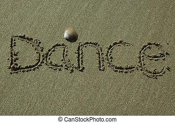 dança, areia, -, escrita