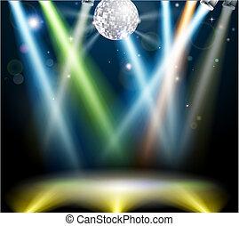 dança, bola disco, chão