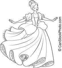 dança, cinderela, bola, coloração, página