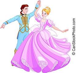 dança, cinderela, bola, príncipe
