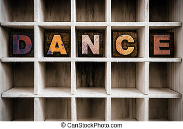 dança, conceito, madeira, letterpress, tipo, em, desenhar