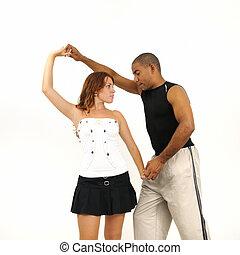 dança, dar, lição, instrutor