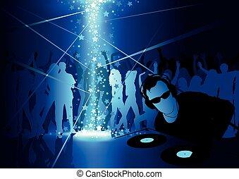 dança, dj partido, fundo