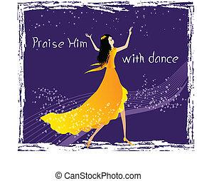 dança, elogio, ele