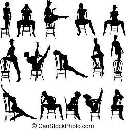 dança, excitado, silouettes