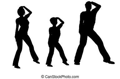 dança, família, vetorial