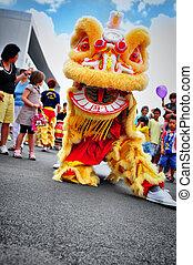 dança, festival, leão