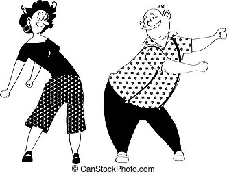 dança, floss, par