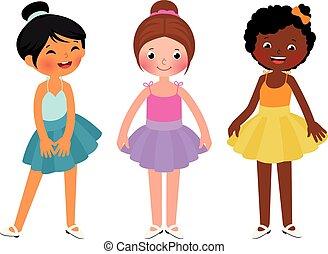 dança, garotinhas, diferente, étnico
