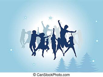 dança, grupo, povos