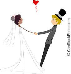 dança, interracial, casório