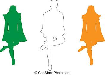 dança, irlandês, silueta, passo, colorido