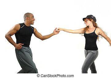 dança, lição, instrutor, latino