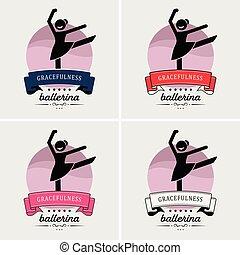 dança, logotipo, balé, design.