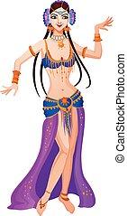 dança, menina, asiático, caricatura, étnico