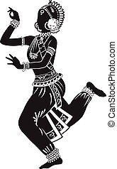 dança, menina, indianas, étnico