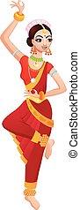 dança, menina, indianas, caricatura, étnico