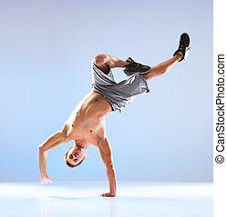 dança, modernos, homem jovem