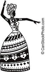 dança, mulher, étnico, africano