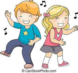 dança, notas, crianças, música, congelar