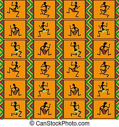 dança, padrão, -, seamless, pessoas
