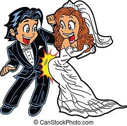 dança, par, casório