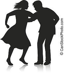 dança, par, latino, dançar
