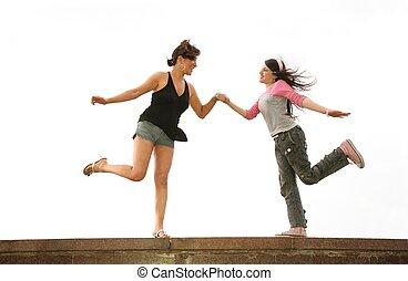 dança, parede, mãe, filha, rocha