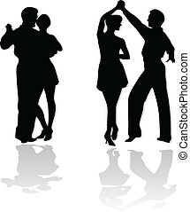 dança, pares, silhuetas