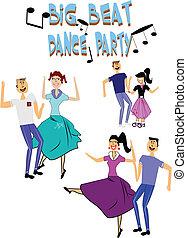 dança, partido, fifties