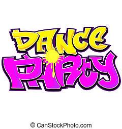 dança, partido, graffiti, urbano, arte, desenho