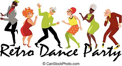 dança, partido, retro