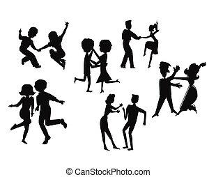 dança, partido, silueta