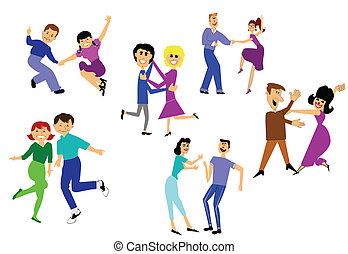 dança, partido, tendo