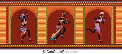 dança, pessoas, étnico, africano