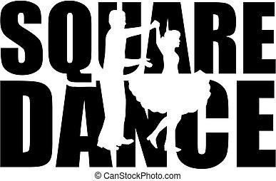 dança quadrada, palavra, com, cutout