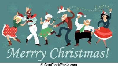 dança, quadrado, natal