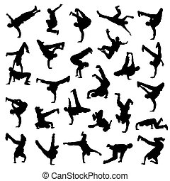 dança ruptura, silhuetas