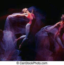 dança, sensual, -, emocional, arte, véu, bonito, bailarina,...