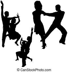dança, silhuetas, latino