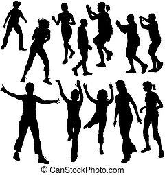 dança, silhuetas