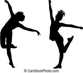 dança, silueta, crianças