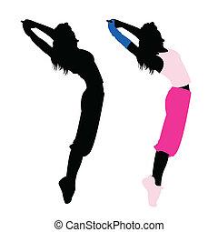 dança, silueta, menina, condicão física