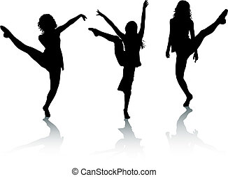 dança, silueta, meninas