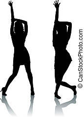 dança, silueta, mulheres