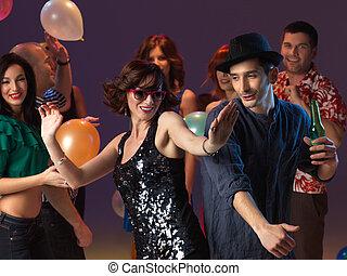 dançar, clube, par, flertar, noturna, excitado