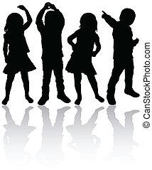dançar, crianças, silhuetas